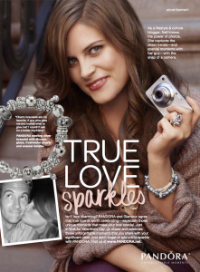 Model: Pandora Advertisement in February 2012 Glamour Magazine