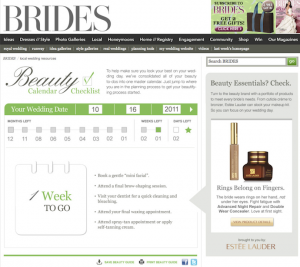 Estée Lauder Product Recommendations as Companion Editorial for Brides Wedding Calendar Countdown
