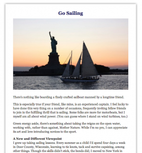 Promotional Blog: Go Sailing