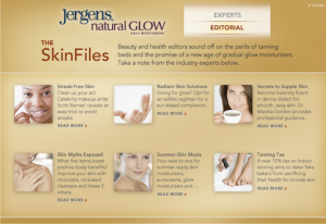 "Titles & Teasers: Jergens ""The SkinFiles"" Expandable Ad on Allure, Glamour & Self"