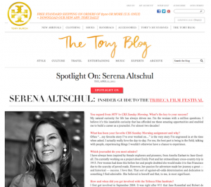 "Copyediting & Copywriting: ""Spotlight On: Serena Altschul"" for the Tory Burch Blog"