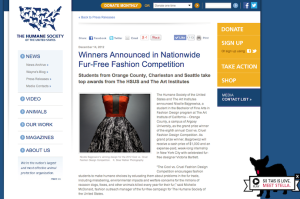 "Judge of 8th Annual HSUS ""Cool Vs. Cruel"" Fashion Design Competition"