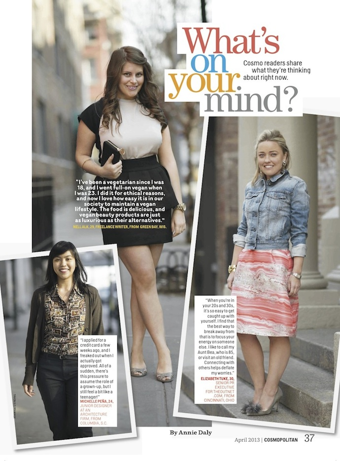 "Model: ""What's on your mind?"" Column in April 2013 Cosmopolitan Magazine"