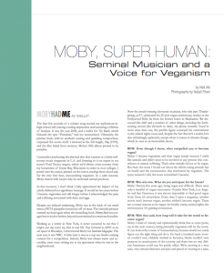 "Feature: ""Moby, Super Human: Seminal Musician and a Voice for Veganism"""