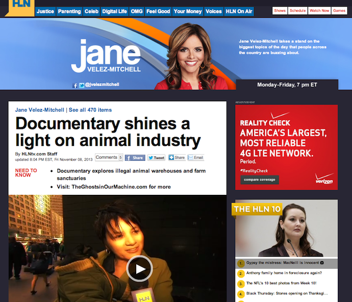 "HLN's Jane Velez-Mitchell for ""The Ghosts In Our Machine"""
