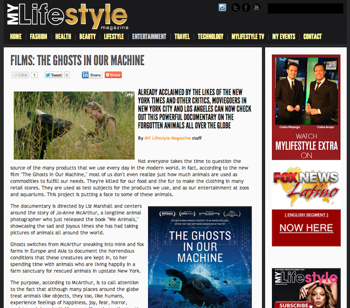 "My Lifestyle Magazine for ""The Ghosts In Our Machine"""