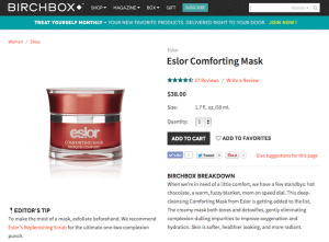 "Eslor ""Comforting Mask"" Product Copy for Birchbox"