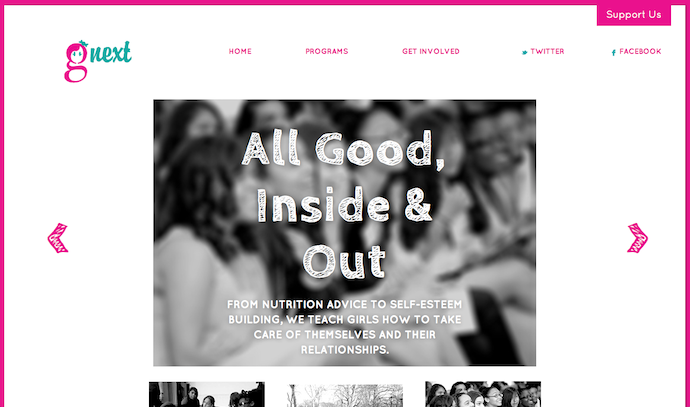 Copywriting: G Next Girls Nonprofit Website