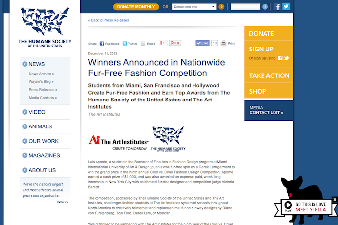 "Judge of 9th Annual HSUS ""Cool Vs. Cruel"" Fashion Design Competition"