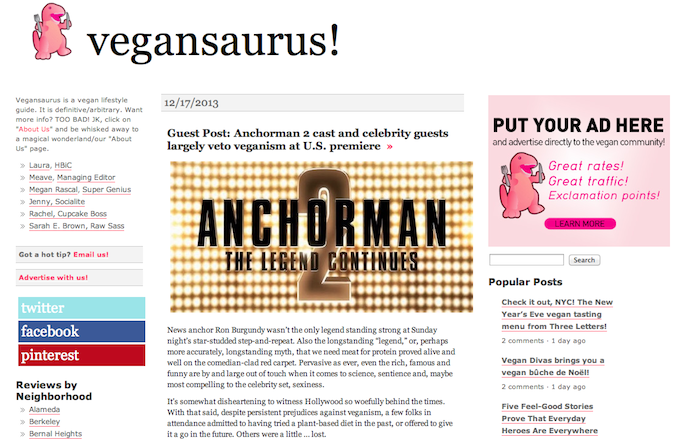 Blog: Cast & Guests of Anchorman 2 US Premiere Weigh in on Veganism