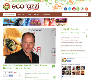 "Feature: ""Woody Harrelson Proudly Dons Vegan Boots in 'Hunger Games'"""