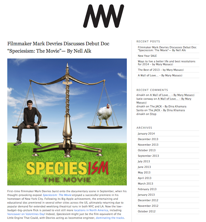 "Interview: ""Speciesism: The Movie"" Filmmaker Mark Devries"