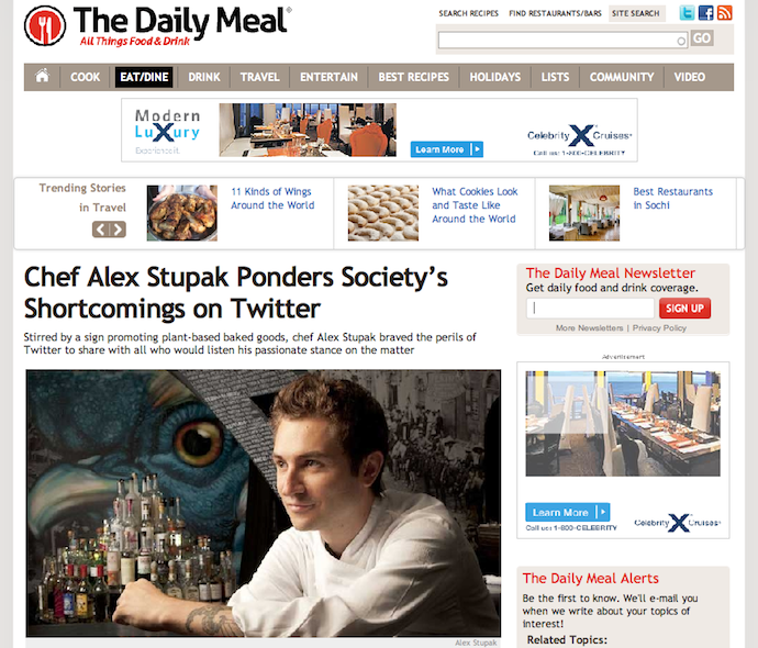 "Feature: ""Chef Alex Stupak Ponders Society's Shortcomings on Twitter"""