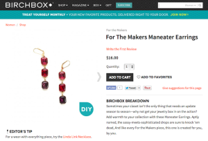 "For the Makers ""Maneater Earrings"" Product Copy for Birchbox"