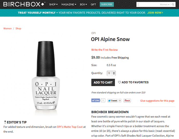 "OPI ""Alpine Snow"" Product Copy for Birchbox"