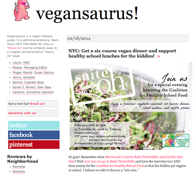 Vegansaurus for Suite ThreeOhSix X NYCHSF Event