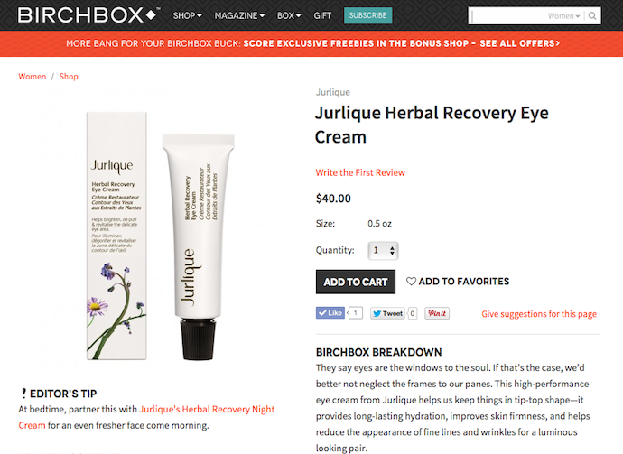 "Jurlique ""Herbal Recovery Eye Cream"" Product Copy for Birchbox"