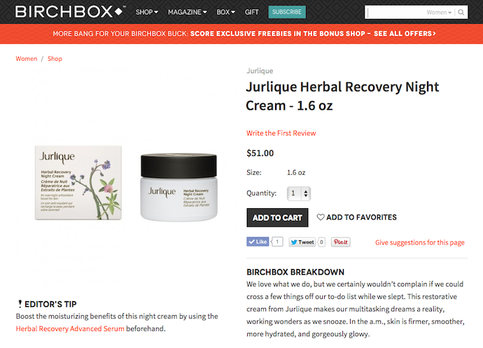 "Jurlique ""Herbal Recovery Night Cream"" Product Copy for Birchbox"