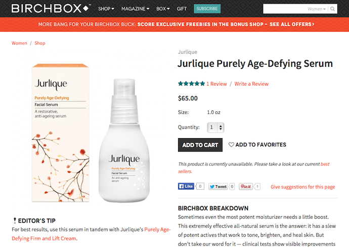"Jurlique ""Purely Age-Defying Serum"" Product Copy for Birchbox"