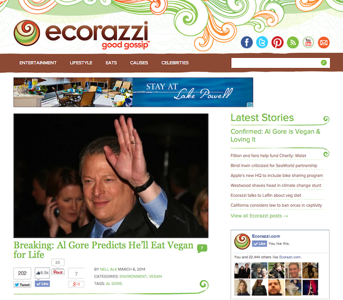 "Feature: ""Al Gore Predicts He'll Eat Vegan for Life"""