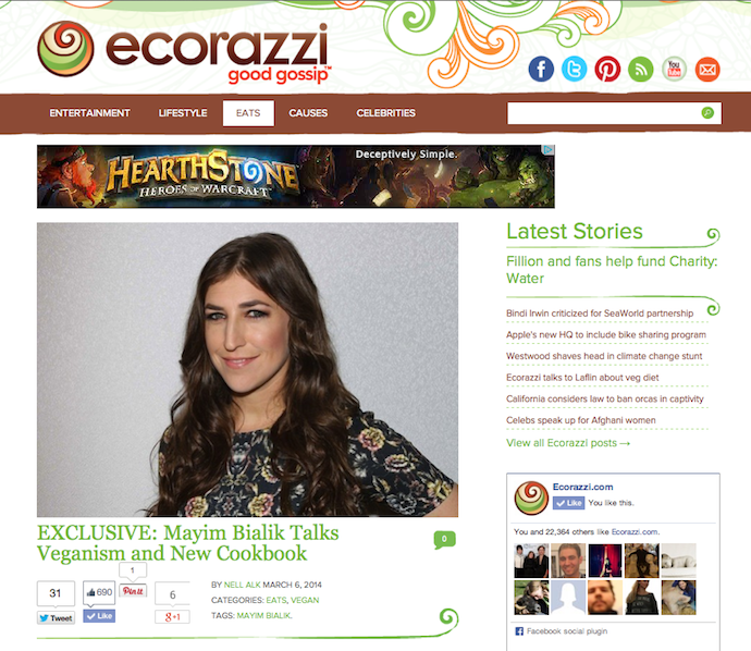 "Interview: ""Mayim Bialik Talks Veganism & New Cookbook"""