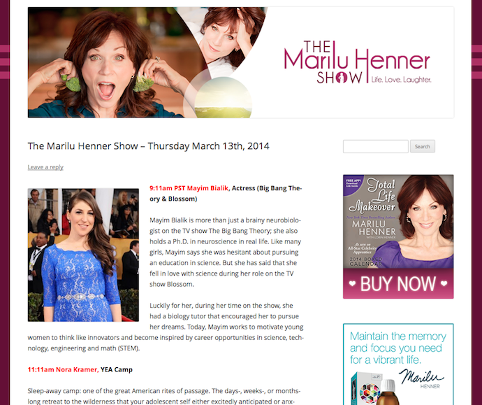 The Marilu Henner Show for Youth Empowered Action Camp