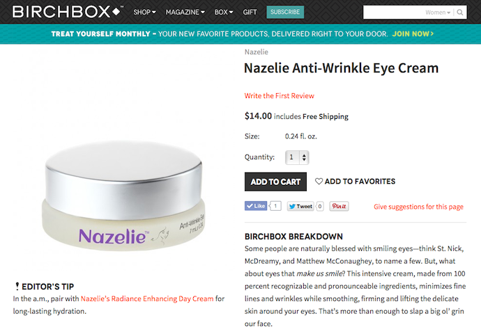 "Nazelie ""Anti-Wrinkle Eye Cream"" Product Copy for Birchbox"