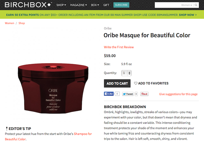 "Oribe ""Masque for Beautiful Color"" Product Copy for Birchbox"