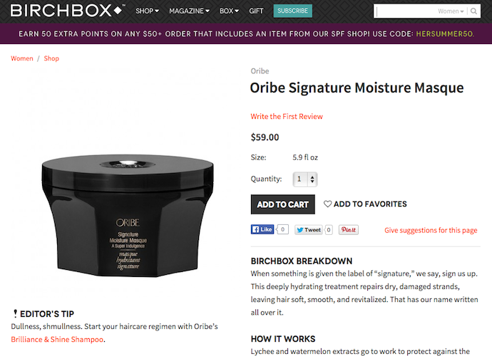 "Oribe ""Signature Moisture Masque"" Product Copy for Birchbox"