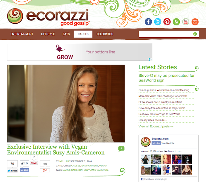 """Exclusive Interview with Vegan Environmentalist Suzy Amis-Cameron"""