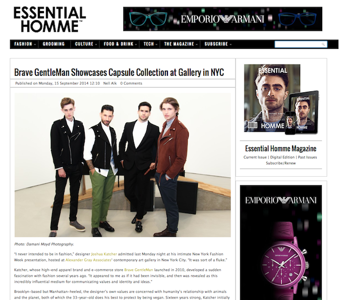 Brave GentleMan Showcases Capsule Collection at Gallery in NYC - See more at: http://www.essentialhommemag.com/brave-gentleman-showcases-capsule-collection-at-gallery-in-nyc/#sthash.CR9CjTS9.dpuf