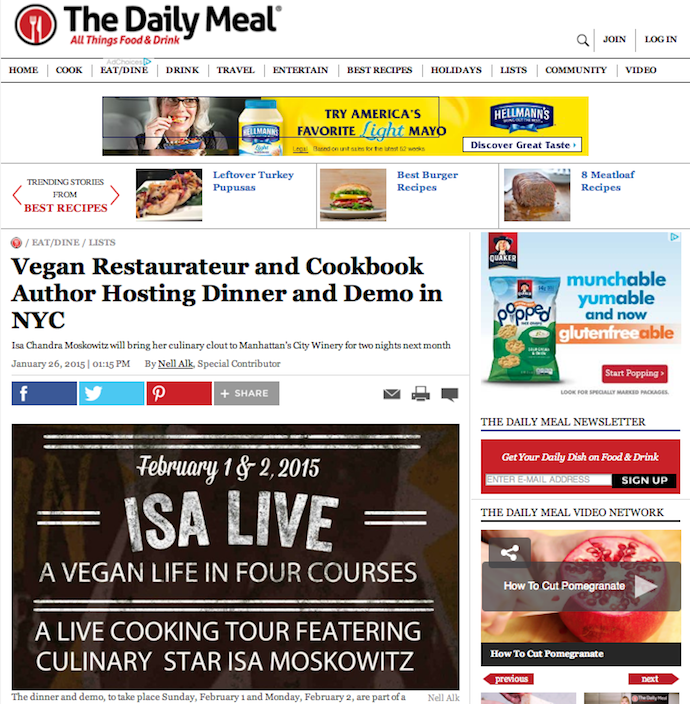"Preview: ""Vegan Restaurateur & Cookbook Author Hosting Dinner & Demo in NYC"""