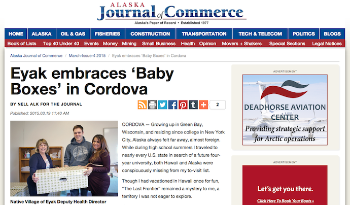 """Eyak Embraces 'Baby Boxes' in Cordova"""