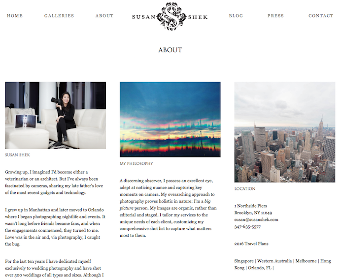 Website Bio: NYC Wedding Photographer Susan Shek