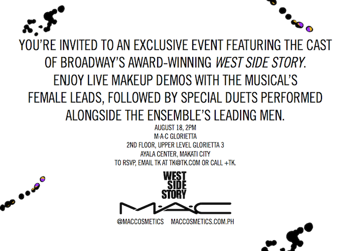 Copywriting: M·A·C X West Side Story Printed Invite